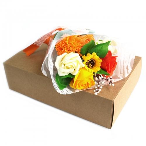 Mydlová kytica v krabici - oranžová - V krabici