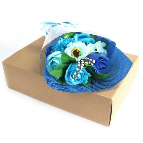 Mydlová kytica v krabici - modrá - V krabici