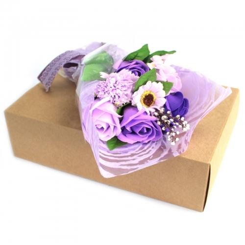 Mydlová Kytica v Krabici - Fialová - Mydlové kytice