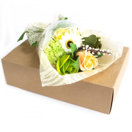 Mydlová kytica v krabici - zelená - Mydlové kytice