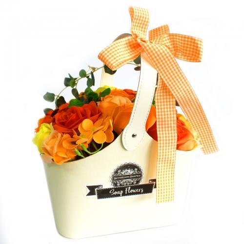 Mydlová Kytica v Košíku - Oranžová - Mydlové kytice