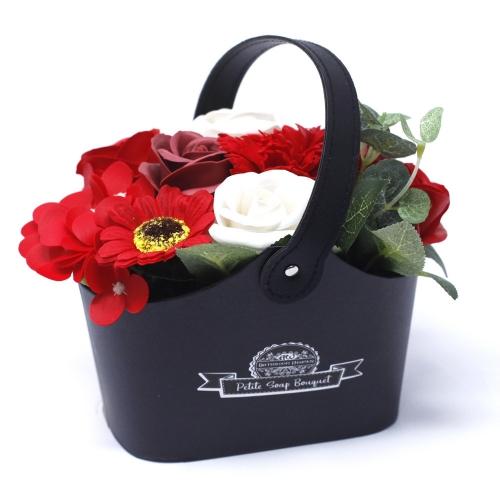 Malá mydlová kytica v košíku - červená - Mydlové kytice