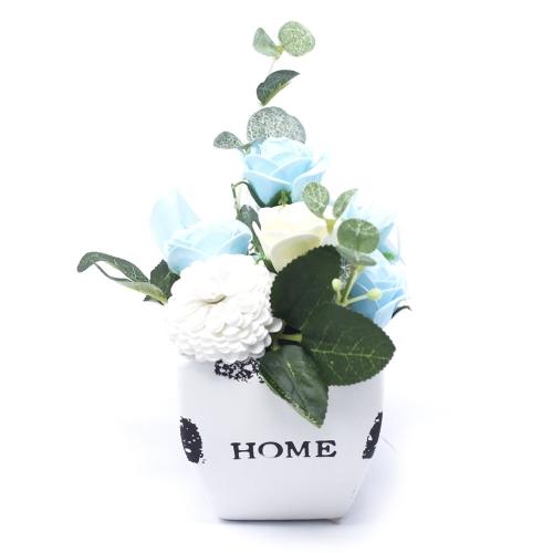 Malá mydlová kytica v kvetináči - modrá - V kvetináči