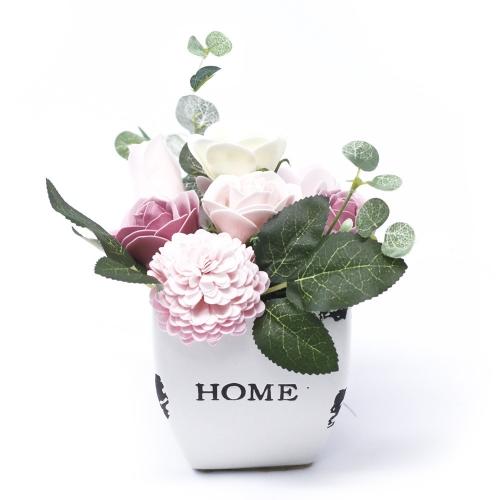 Malá mydlová kytica v kvetináči - ružová - V kvetináči