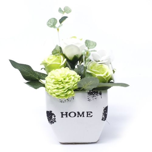 Malá mydlová kytica v kvetináči - zelená - V kvetináči