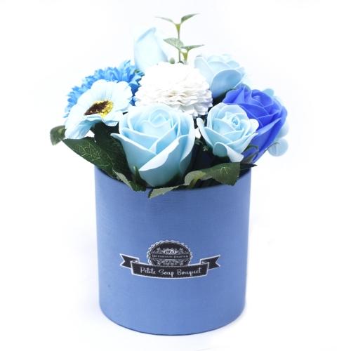 Malá mydlová kytica v darčekovej krabici - modrá - V darčekovej krabici