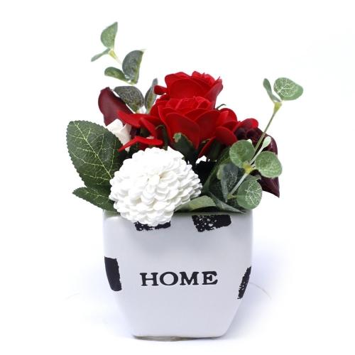 Malá mydlová kytica v kvetináči - červená - V kvetináči