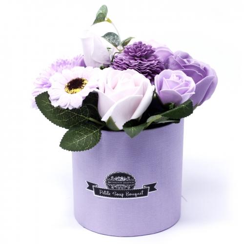 Malá Mydlová Kytica v Darčekovej Krabici - Fialová - Mydlové kytice