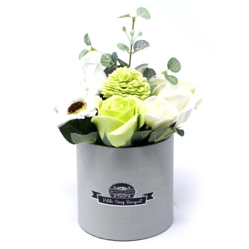 Malá Mydlová Kytica v Darčekovej Krabici - Zelená - Mydlové kytice