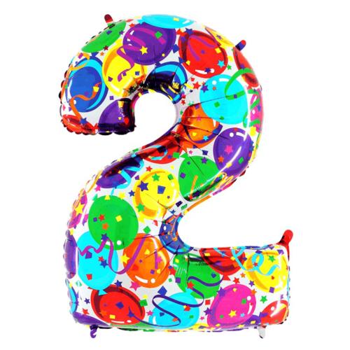 Balón číslo 2 balóny 35 cm - Balóny čísla