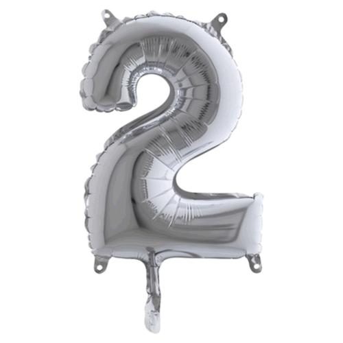 Balón číslo 2 strieborné 35 cm - Balóny čísla