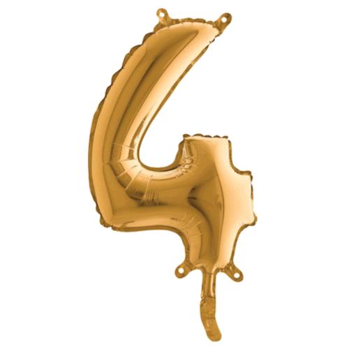 Balón číslo 4 zlaté 35 cm - Balóny čísla