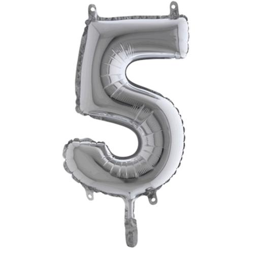 Balón číslo 5 strieborné 35 cm - Balóny čísla