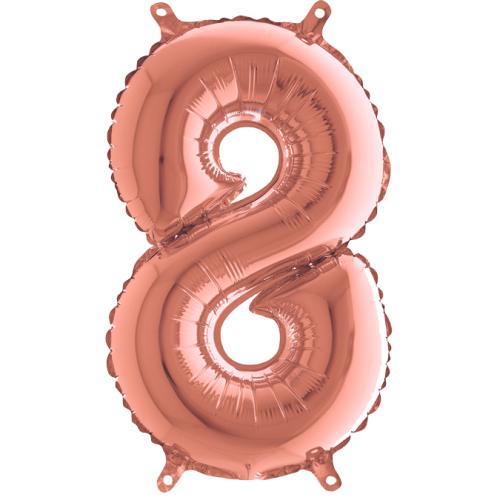 Balón číslo malé 8 rose gold - Balóny čísla