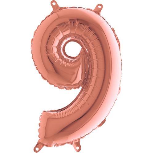 Balón číslo 9 rose gold 35 cm - Balóny čísla