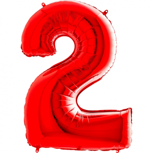 Balón číslo 2 červené 66 cm - Balóny čísla