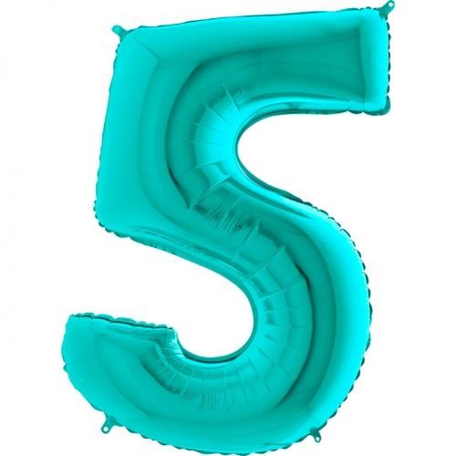 Balón číslo 5 tyrkys 66 cm - Balóny čísla