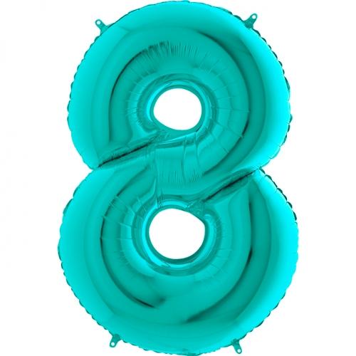Balón číslo 8 tyrkys 66 cm - Balóny čísla