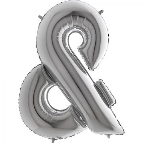Balón symbol & strieborné veľké - Balóny čísla