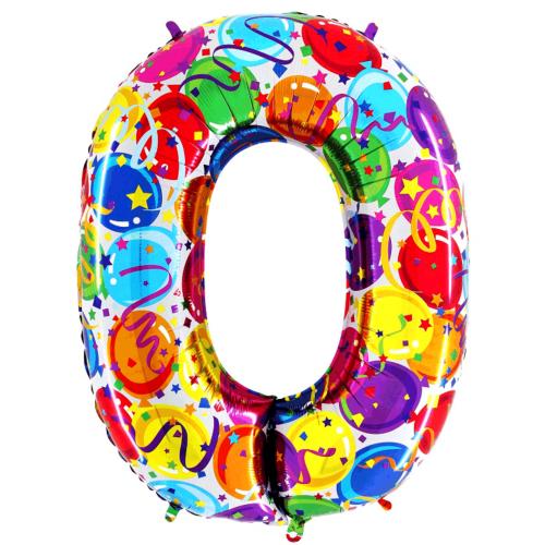 Balón číslo 0 párty 100 cm - Balóny čísla