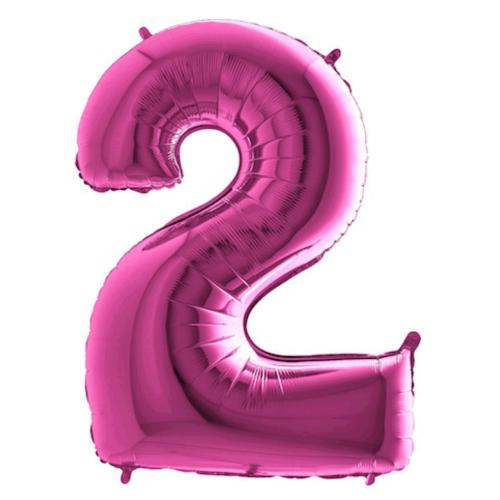 Balón číslo 2 ružové 100 cm - Balóny čísla