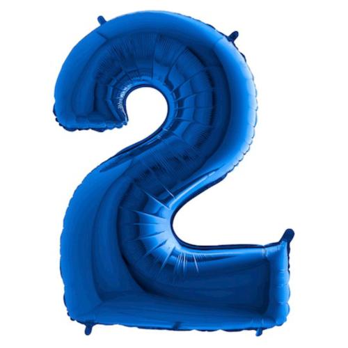 Balón číslo 2 modré 100 cm - Balóny čísla