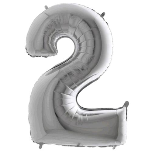 Balón číslo 2 strieborné 100 cm - Čísla strieborné
