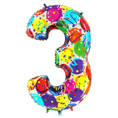 Balón číslo 3 párty 100 cm - Balóny čísla