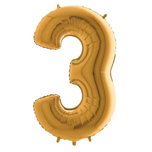 Balón číslo 3 zlaté 100 cm - Balóny čísla
