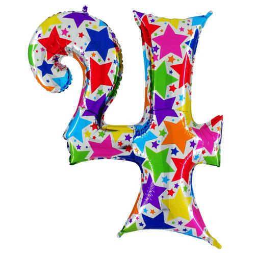 Balón číslo 4 hviezdy 100 cm - Balóny čísla