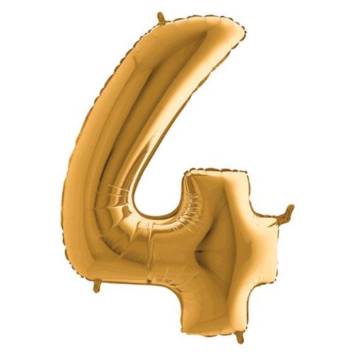 Balón číslo 4 zlaté 100 cm - Balóny čísla