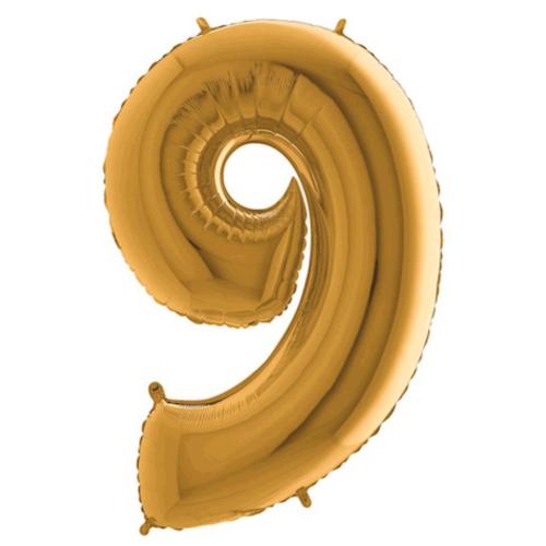 Balón číslo 9 zlaté 100 cm - Balóny čísla