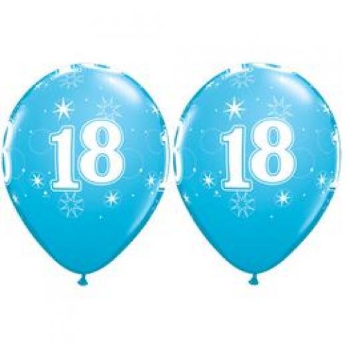Balóny Sparkle s číslom 18 modré 25 ks - Balóny čísla