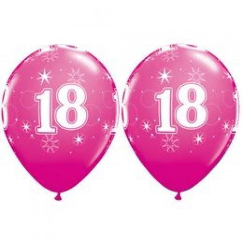 Q 18 Sparkle RND pink - Balóny čísla