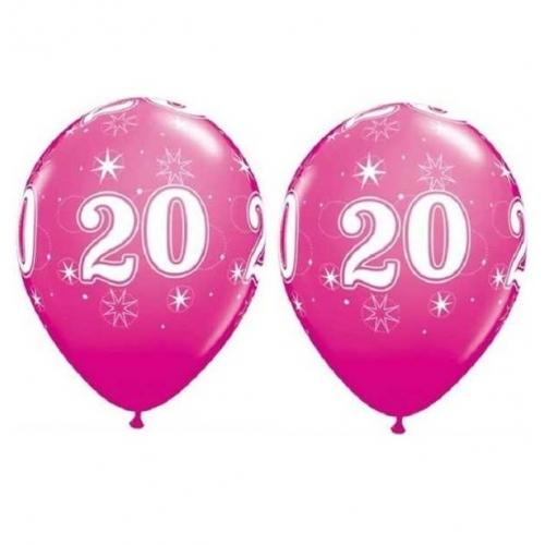 Balóny Sparkle s číslom 20 ružové 25 ks - Balóny čísla
