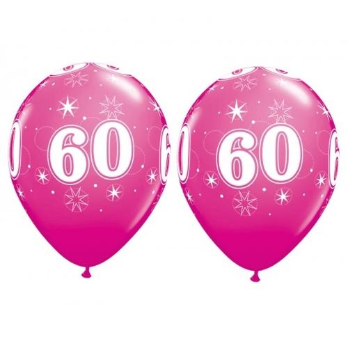 Balóny Sparkle s číslom 60 ružové 25 ks - Balóny čísla