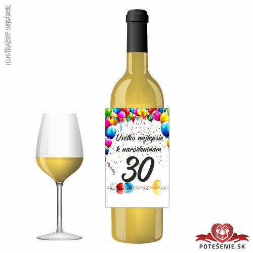 Narodeninové víno, číslo 30, motív 027 - Narodeninové víno s číslom