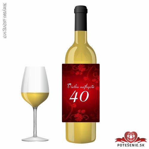 Narodeninové víno, číslo 40, motív 051 - Narodeninové víno s číslom
