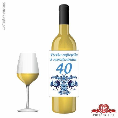 Narodeninové víno, číslo 40, motív 054 - Narodeninové víno s číslom