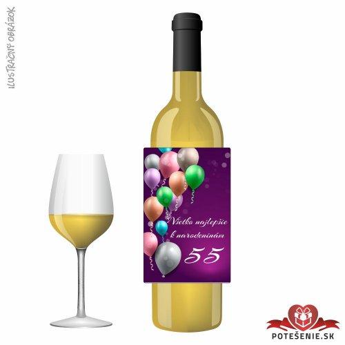Narodeninové víno, číslo 55, motív 132 - Narodeninové víno s číslom