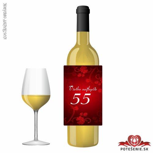 Narodeninové víno, číslo 55, motív 135 - Narodeninové víno s číslom