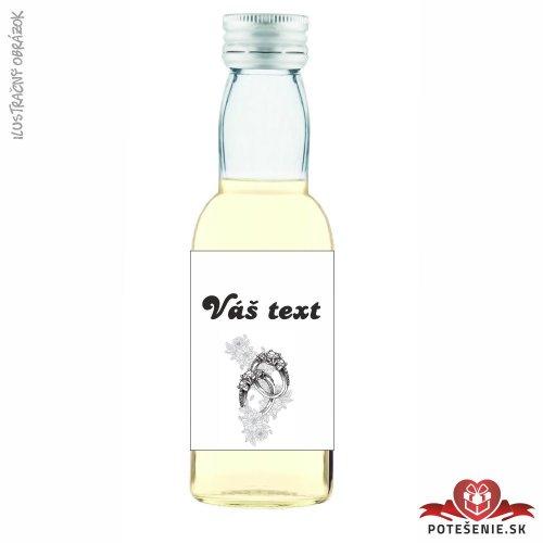Svadobná mini fľaštička s alkoholom, motív S241 - Svadobné fľaštičky malé