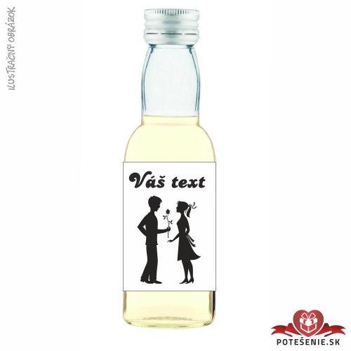 Svadobná mini fľaštička s alkoholom, motív S269 - Svadobné fľaštičky malé