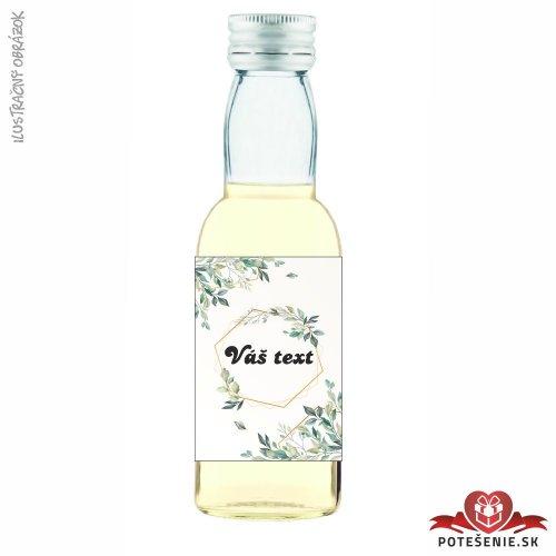 Svadobná mini fľaštička s alkoholom, motív S413 - Svadobné fľaštičky malé