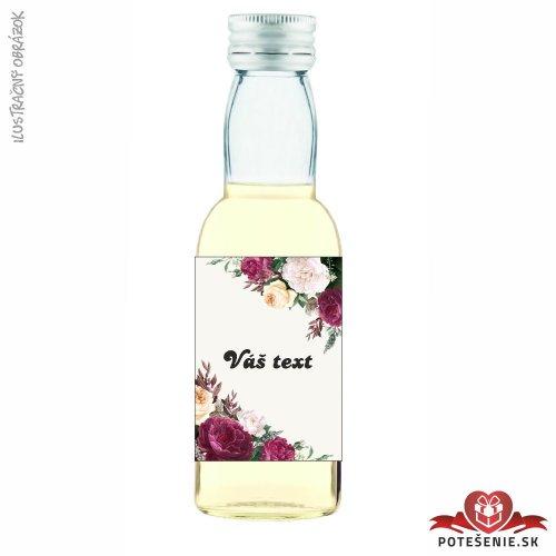 Svadobná mini fľaštička s alkoholom, motív S429 - Svadobné fľaštičky malé