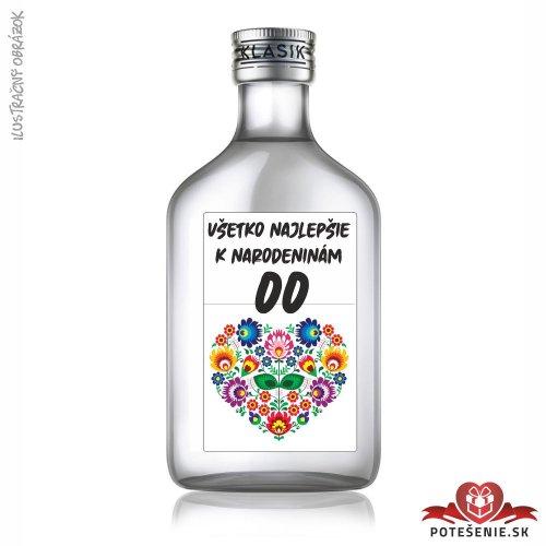 Narodeninová fľaštička s alkoholom, číslo 50, motív 3