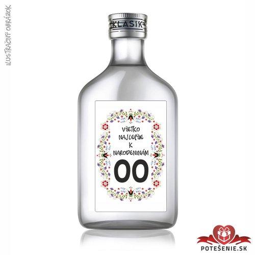 Narodeninová fľaštička s alkoholom, číslo 60, motív 3 - Fľaštičky s číslom veľké