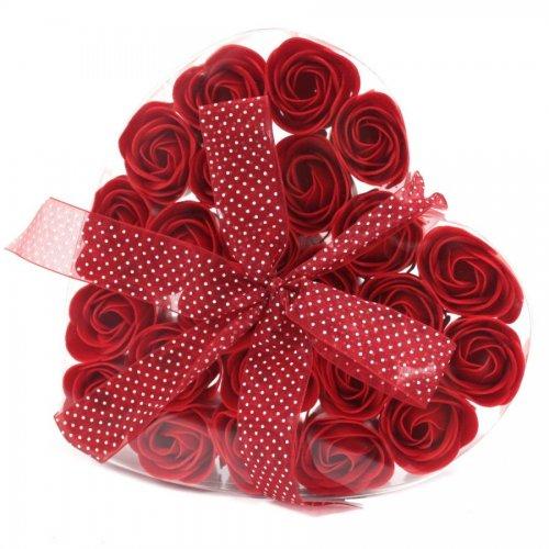 Sada 24 mydlových kvetov - červená ruža - Sada kvetov