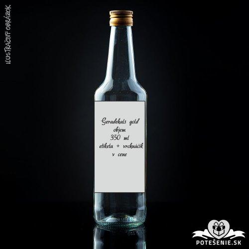 Prázdna svadobná fľaša Geradehals Gold 350 ml