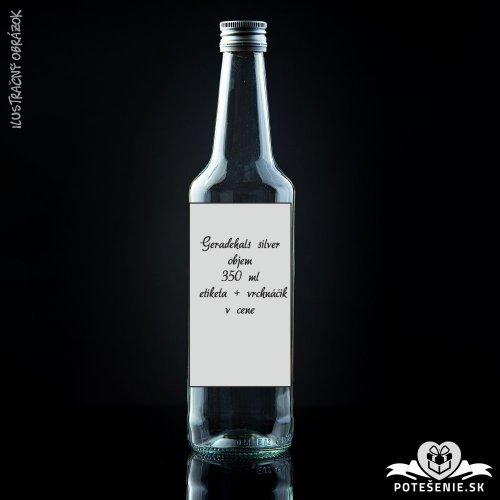 Prázdna svadobná fľaša Geradehals Silver 350 ml